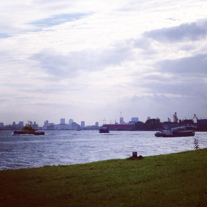 En ik vind het heerlijk om te wandelen, vooral met dit uitzicht op Rotterdam.