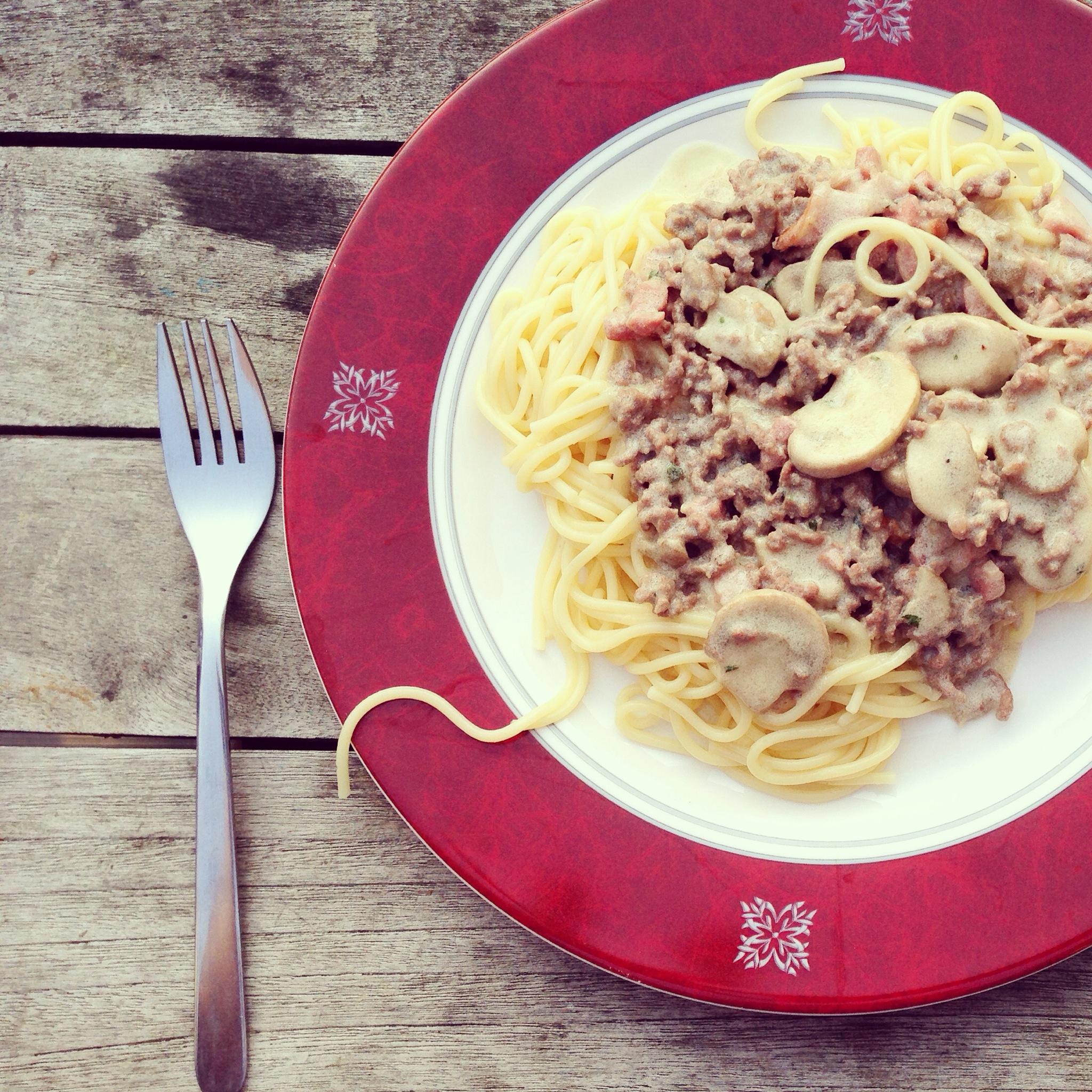 Wij aten dus met zijn tweeën spaghetti met witte saus. Ook lekker!