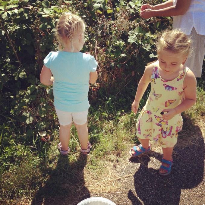 Donderdagochtend kwamen we even aanwaaien bij Marina en Sylke die aan de Maas zaten. Marina ging bramenjam maken en de meisjes vonden het maar wat leuk om aan het werk gezet te worden!