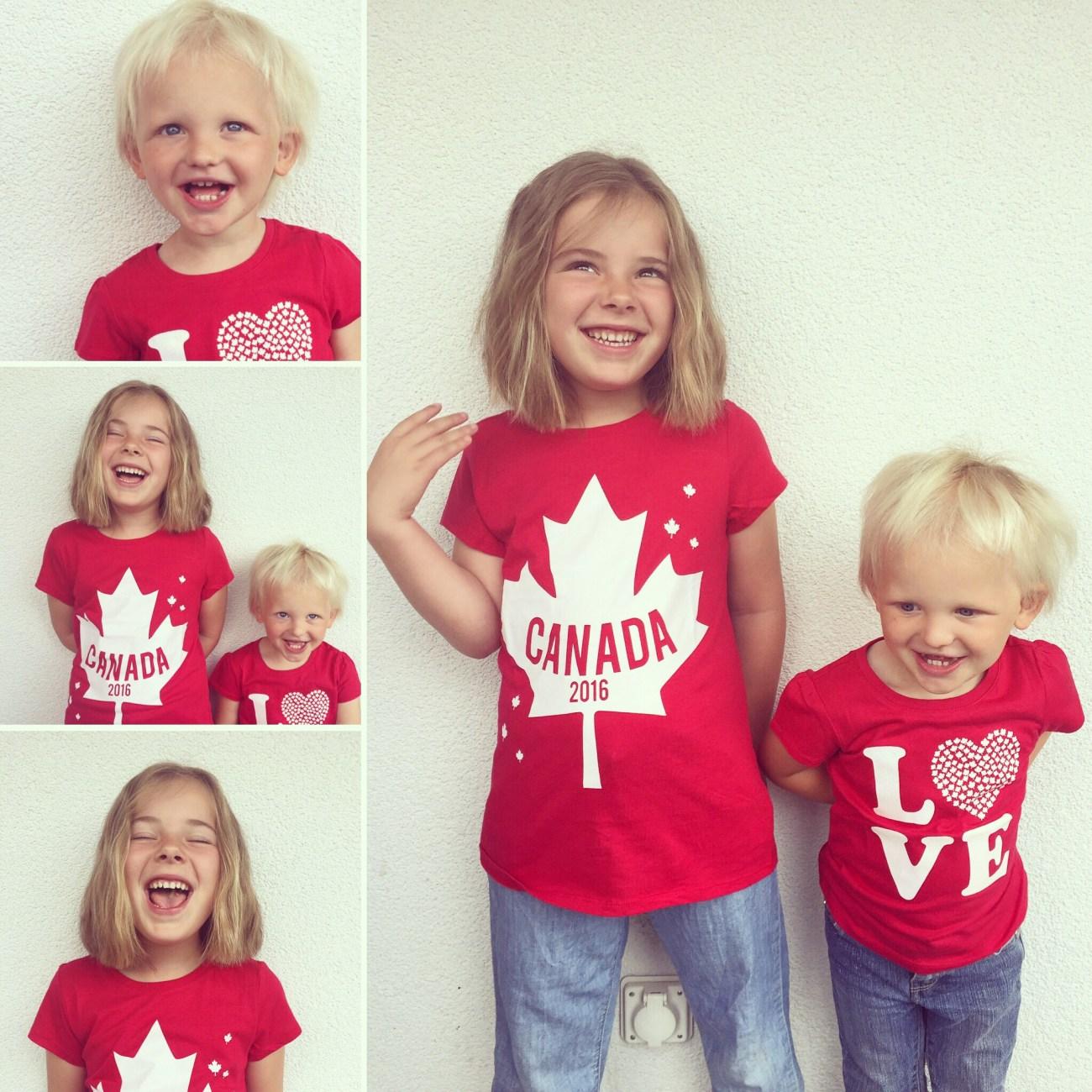 Dan komt er een pakketje uit Canada binnen. Het treft dat de kinderen nog niet aangekleed zijn, de shirtjes kunnen meteen aan!