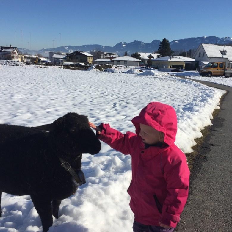 Het is maandag al mooi weer en zo gaande de week verdwijnt langzaam de sneeuw weer. Samen met Liza loop ik Eva tegemoet van school.