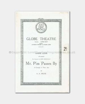 1922 Globe Theatre, Mr Pim Passes By