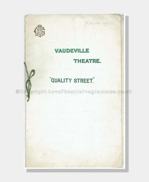 1902 QUALITY STREET Vaudeville Theatre