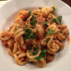 Lamb ragu made with girelle pasta in a white bowl.