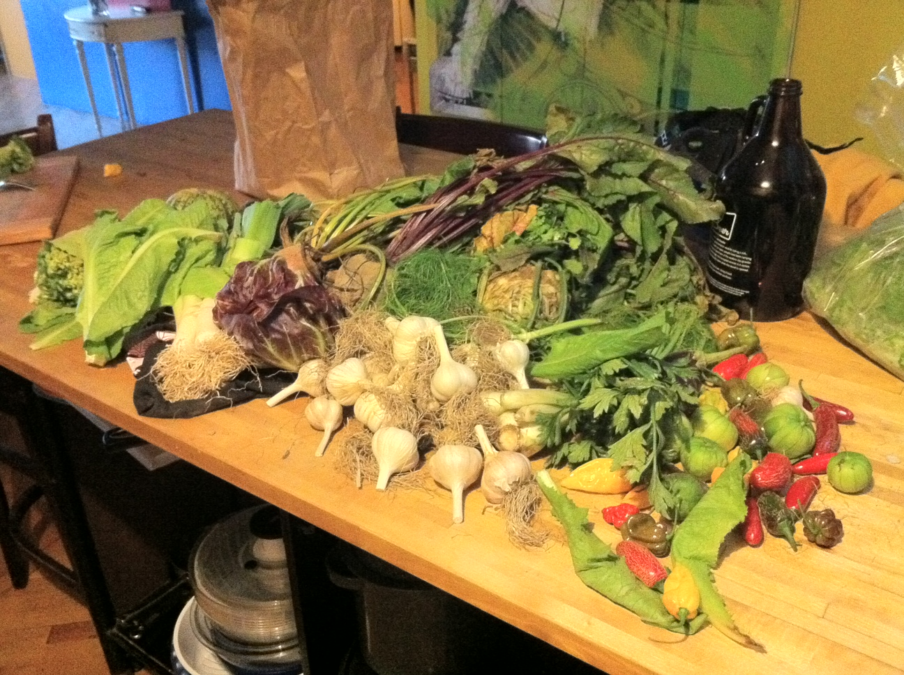Garden vegetables on a wooden table.