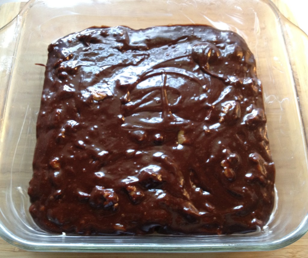Brownie batter in a pan.