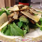 Baby artichoke and arugula salad side view from May 11, 2013.