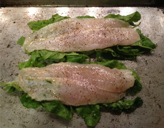 Fillets of sole on top of sorrel, drizzled with olive oil and seasoned with salt and pepper, ready to go into the oven to roast.