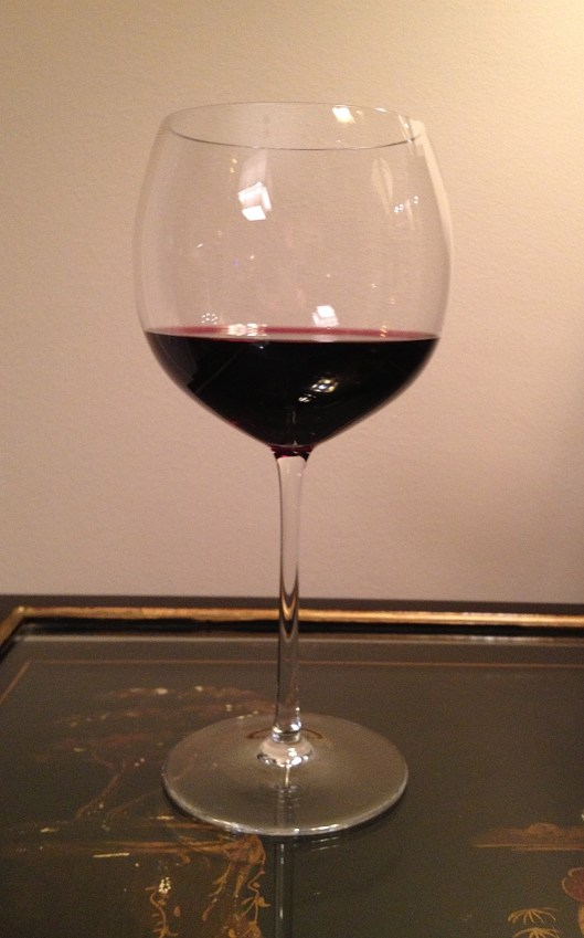 Red wine in a red wine glass for pairing with food.