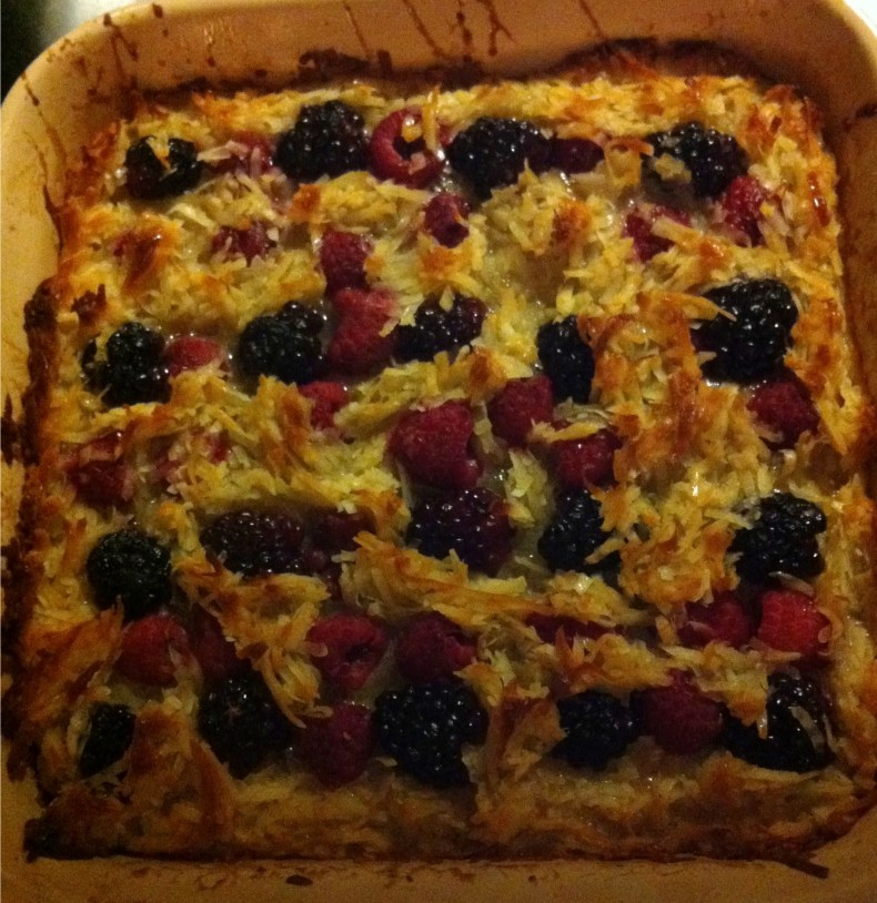 Coconut, raspberry, blackberry tarte in a Le Creuset pan.