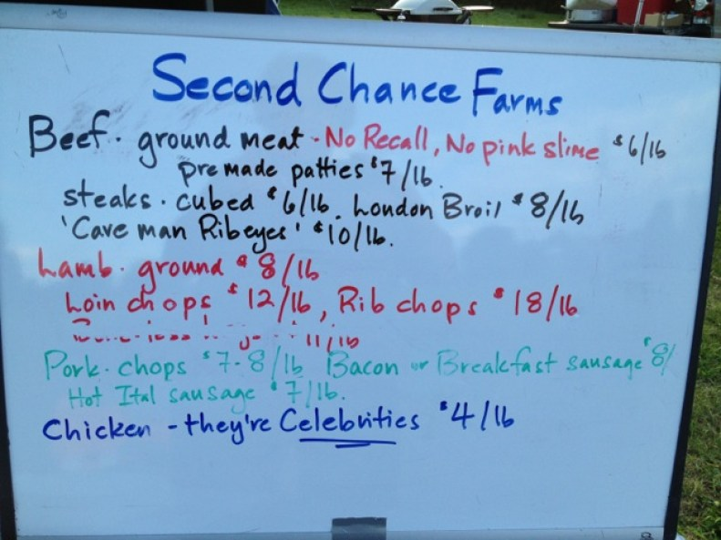 Second Chance Farm price sign.