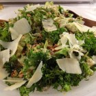 Warm wilted chicory salad with chopped toasted walnuts and parmesan cheese with a honey balsamic dressing.