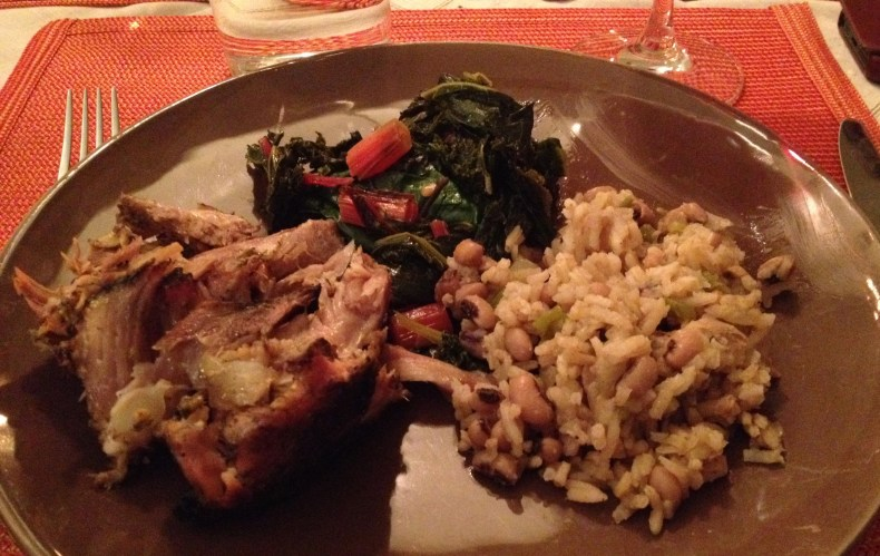 Dinner plate with peril, sautéed kale and Swiss chard with Jasmine rice and black eyed peas.