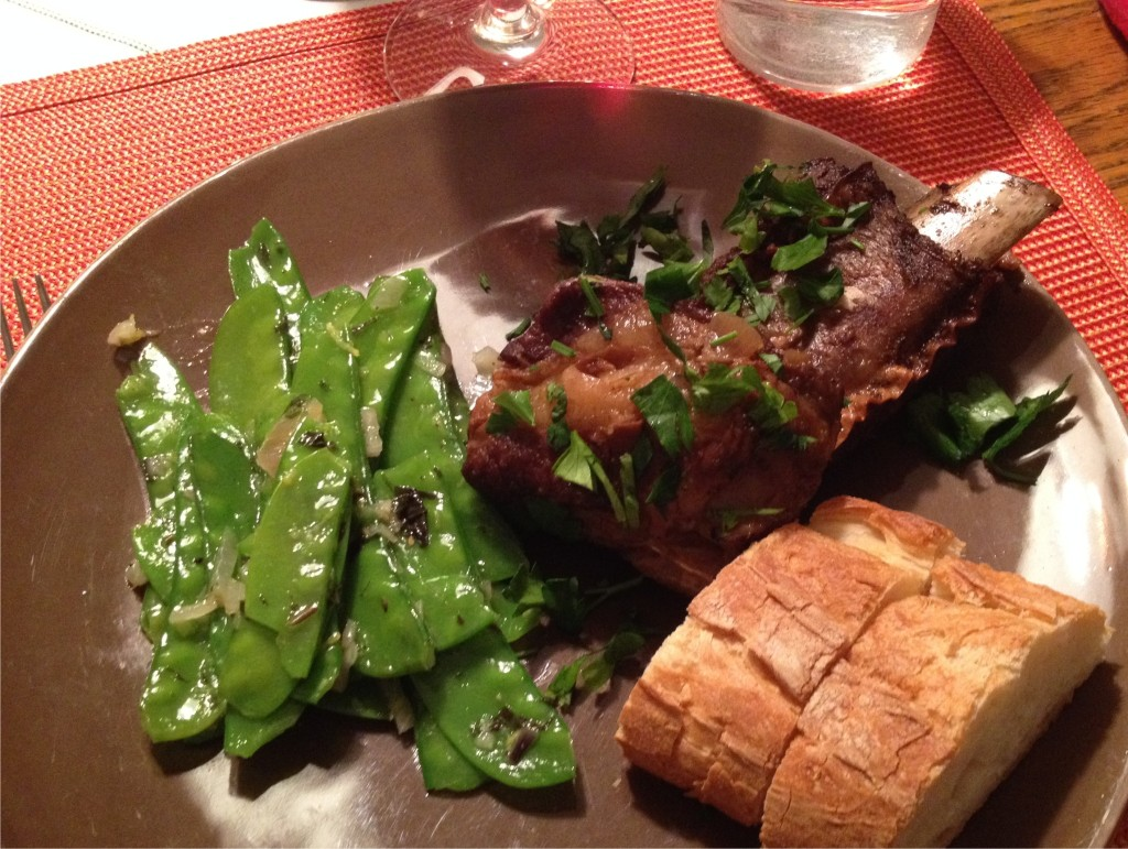 Snow peas with ginger, garlic, shallots, lemon and mint with short ribs Photo from Apr 12, 2014