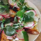 Feta radishes watercress and mint toasts platter.