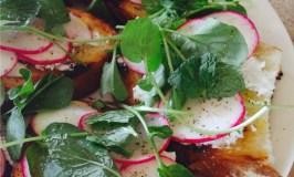 Feta, radishes, watercress and mint toasts