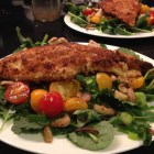 Fried Catfish atop a Baby Kale Salad with Sauteed Radishes and Japanese Turnips