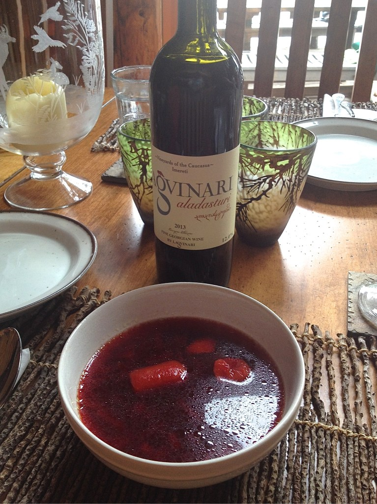 Georgian wine and borscht.