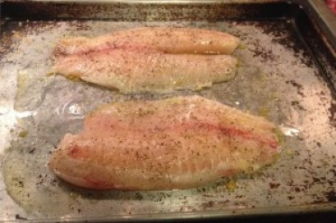 Falksalt Citron on flounder ready to roast.
