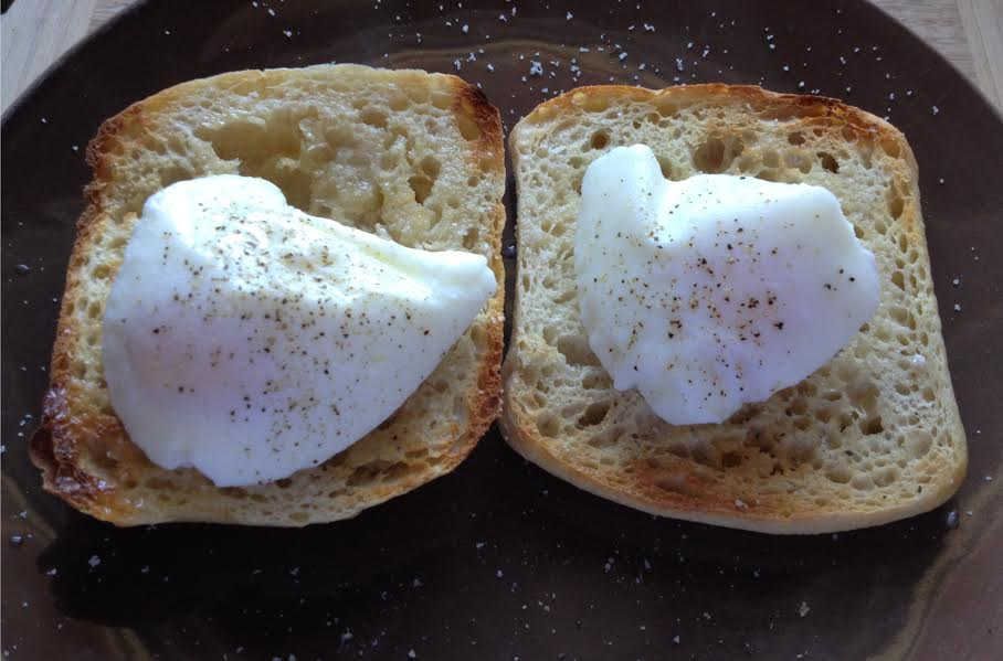 Poached eggs on toast.