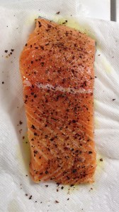 Smoulder on fresh salmon.
