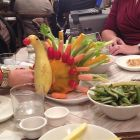 Thanksgiving centerpiece to make with kids out of vegetables.