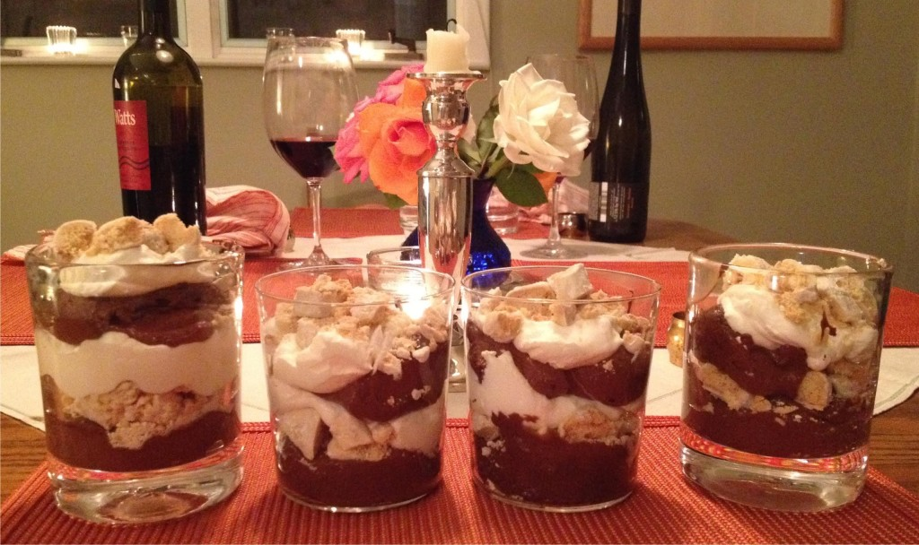 Four glasses of Maddy's Peppermint Shortbread Chocolate Trifle.