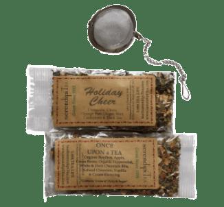SerendipiTEA HolidayCheer and Once Upon a Tea with a mesh tea ball.