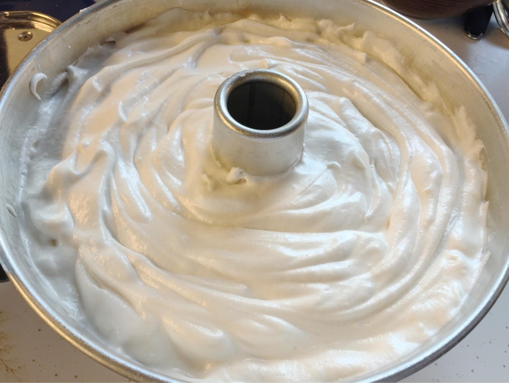 Angel food cake batter in pan.