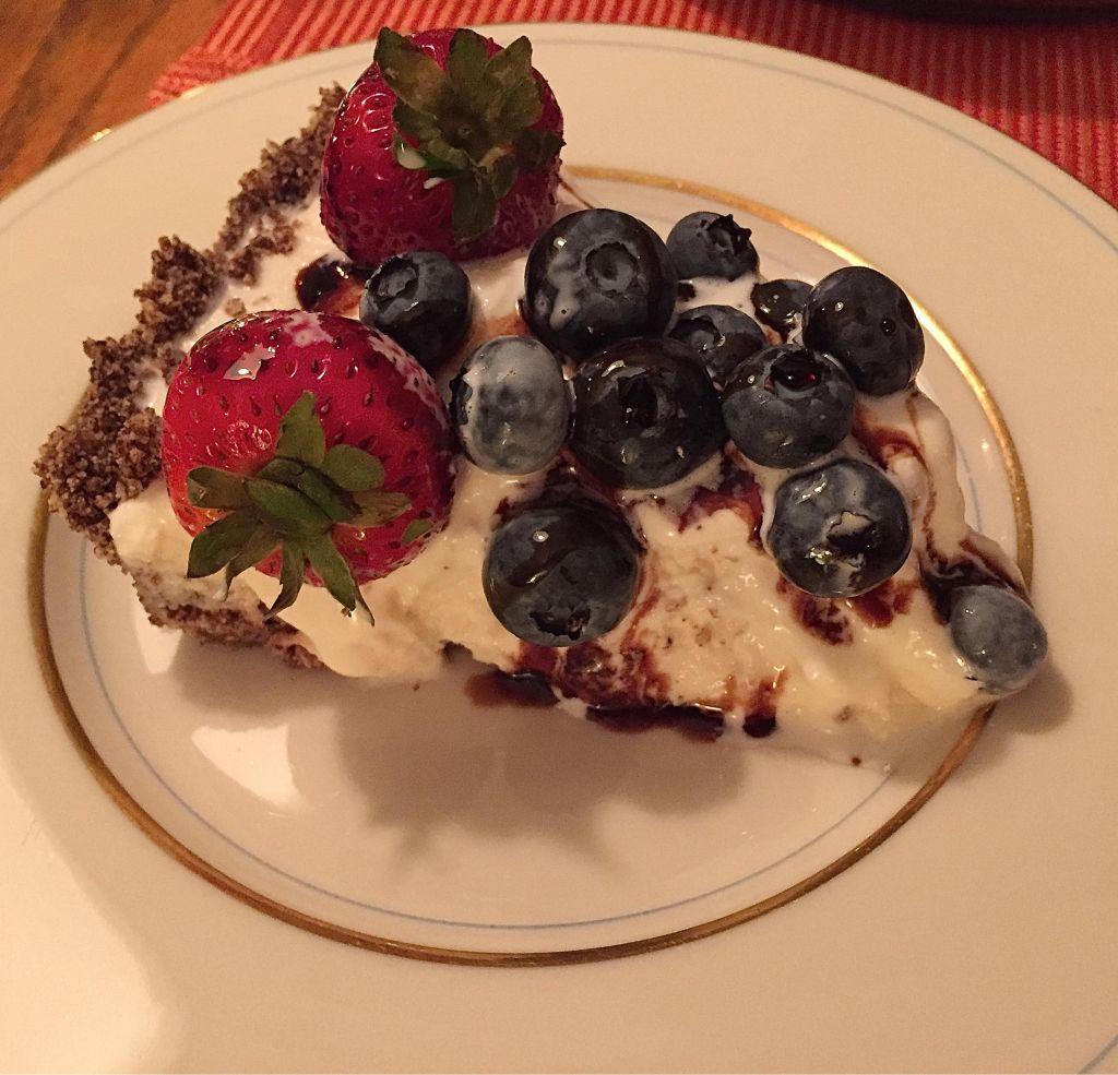 Ice Cream Pie with Power O's crust - piece of pie.