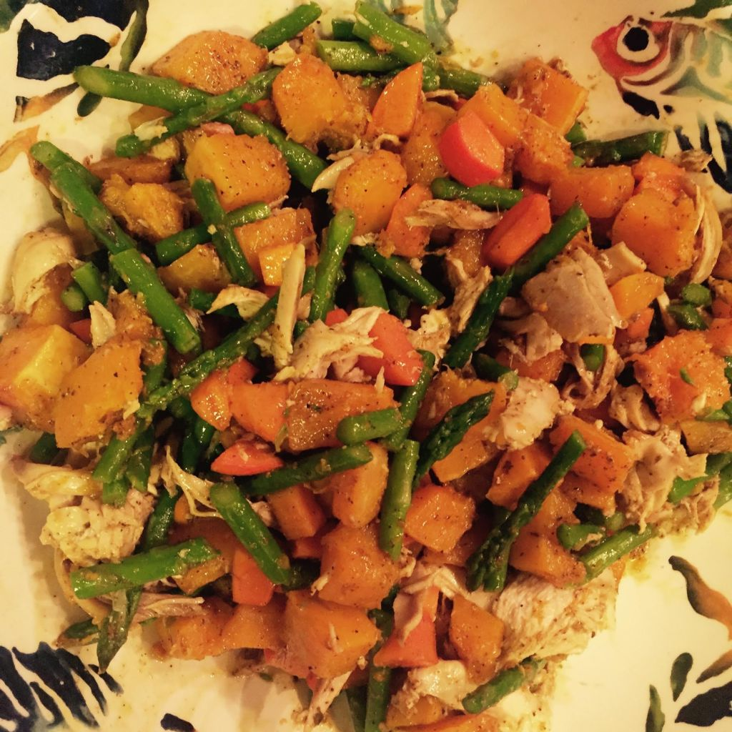Leftover Turkey or Chicken with Butternut Squash, Asparagus and Persimmon - in a bowl.