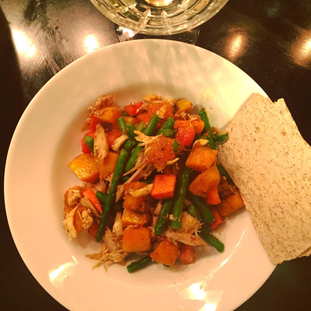 Leftover Turkey or Chicken with Butternut Squash, Asparagus and Persimmon - served up!