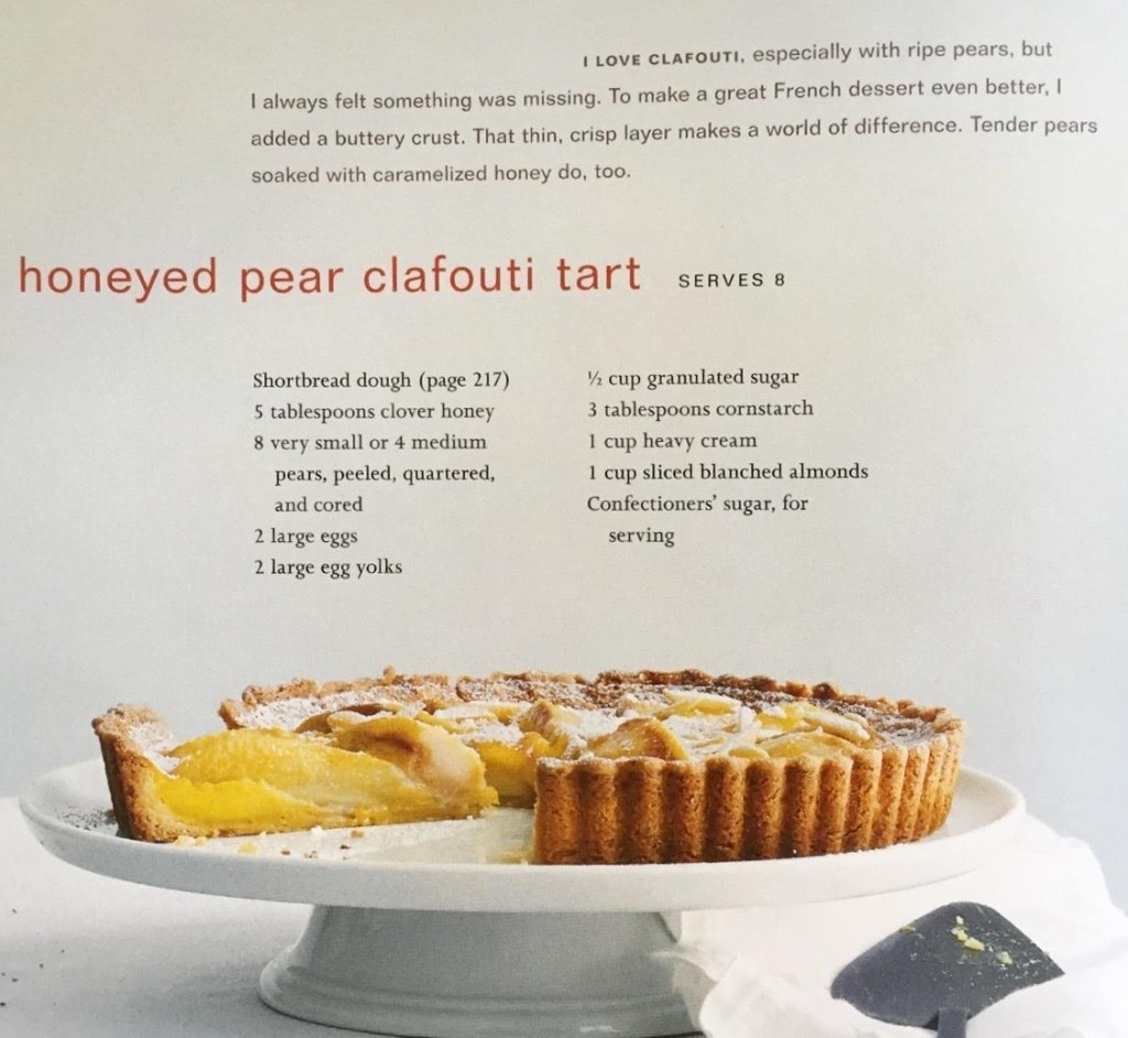 Jean-Georges honeyed pear clafouti tart recipe.