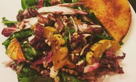 Roasted Squash and Radicchio Salad With Buttermilk Dressing & Sweet Corn Arepas