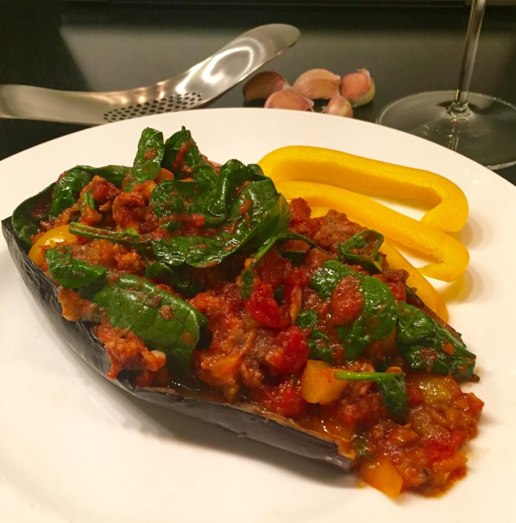 Joseph Joseph Garlic Rocker -finished garlicky lamb stuffed eggplant.