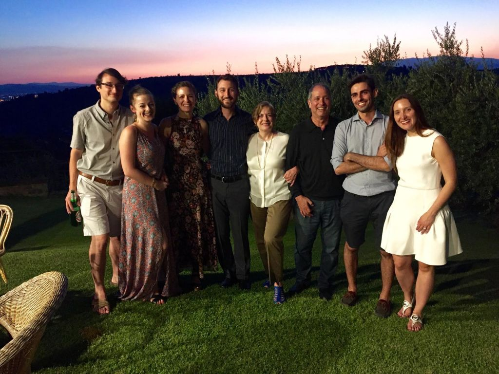Our family with Bianca and Cesare at sunset at the Bonechi home.