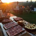 A Tuscan spread of appetizers at sunset, overlooking Arezzo.