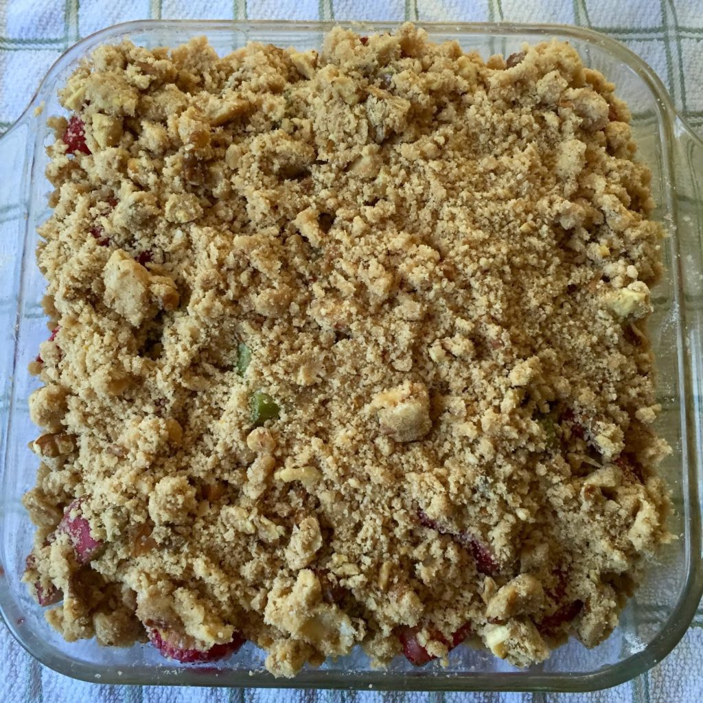 Strawberry and Rhubarb Crisp-ready to go into the oven.