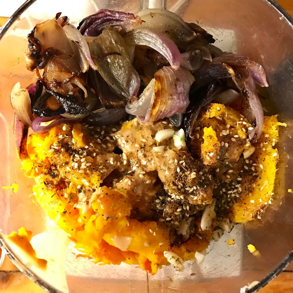Roasted butternut squash with roasted onions and Home Cook's Pantry Za'atar in a Cuisinart.