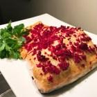 Roasted Salmon with Dijon Mustard & Beet Horseradish finished on a platter.