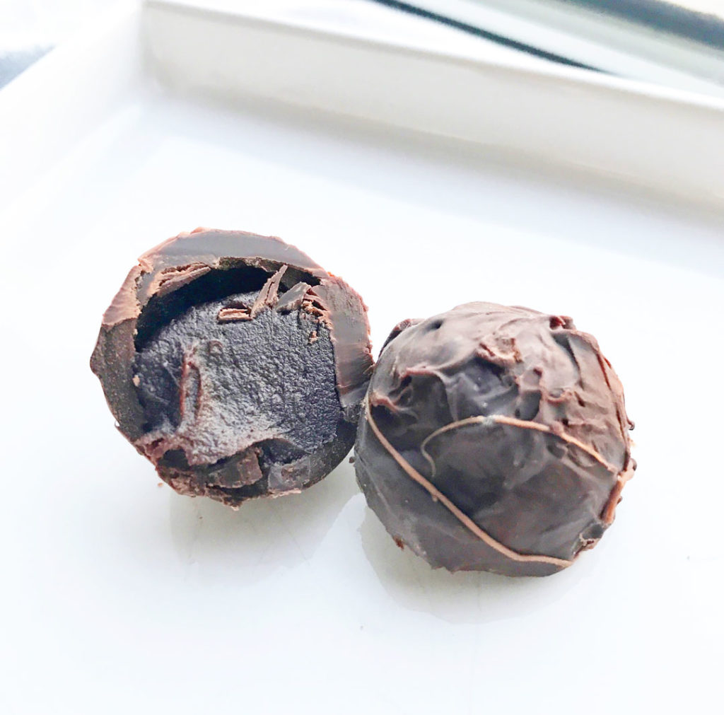 Catskill Provisions NY Honey Whiskey Truffles - cut in the center.