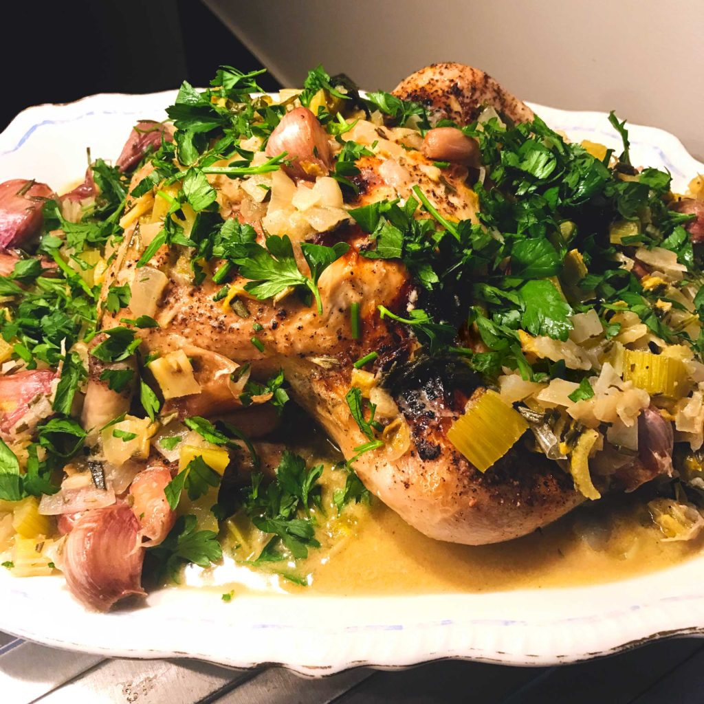 Joseph Joseph SmartBar with Chicken with 40 Cloves of Garlic finished on a platter.