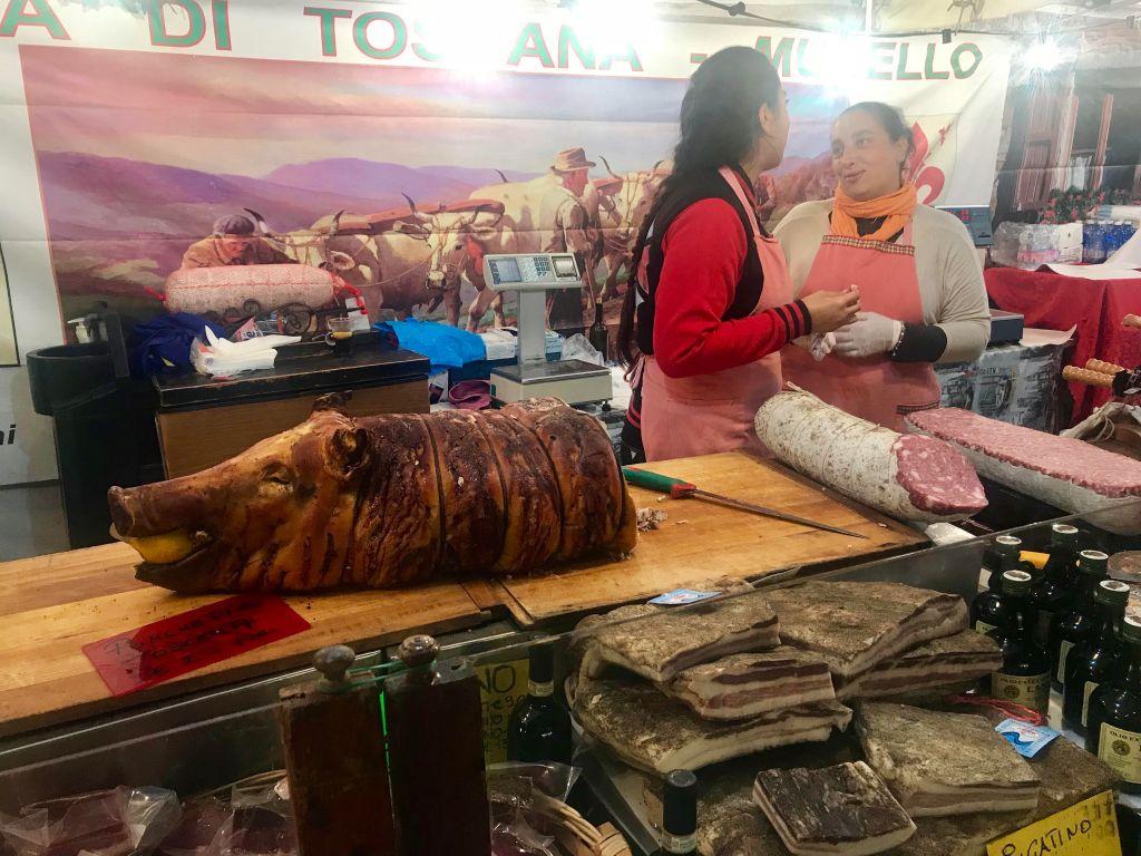 Arezzo International Market - the delicious porchetta.
