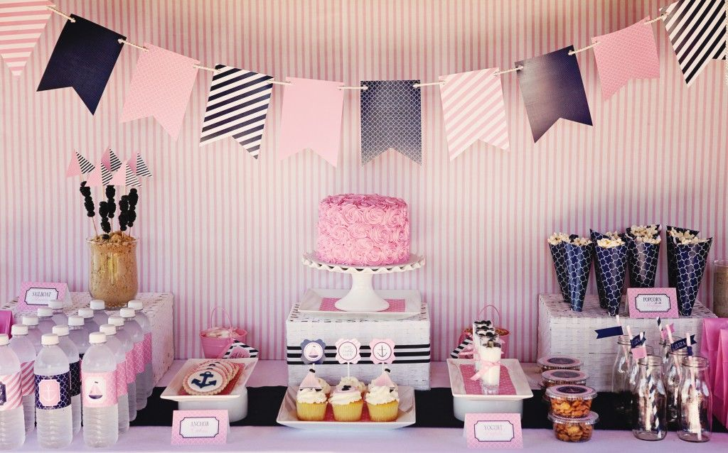 Preppy Pink And Navy Nautical Birthday Theme Pictures