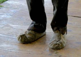 Traditional felted shearing shoes