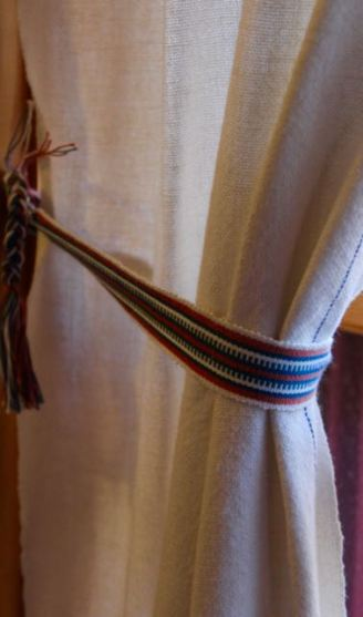 Handwoven curtains and tiebacks