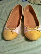 Yellow suede tipped flats