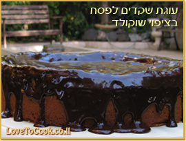 עוגת שקדים לפסח מצופה בשוקולד