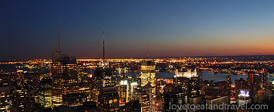 NY - View of Manhattan Skyline at Night from Top of the Rock