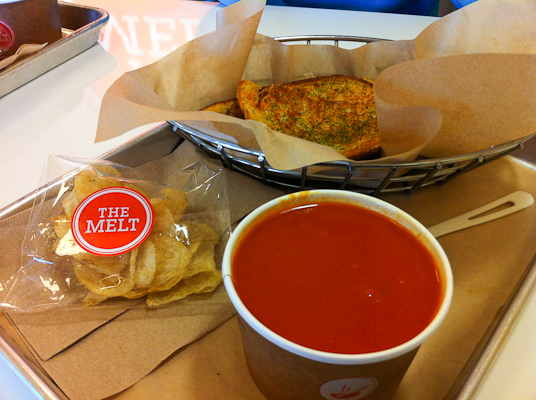 The Classic Melt & Soup Combo and Kettle Chips at The Melt, Stanford Shopping Center, Palo Alto, CA
